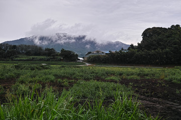 cloudy countryside japan landscape