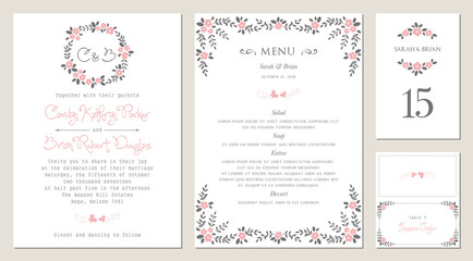 Invitation, menu, table number and name place card design.  Floral wedding templates.