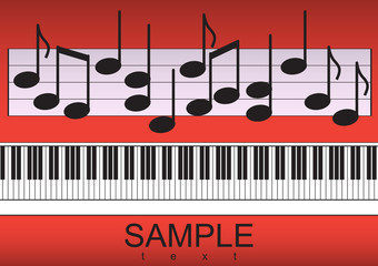 Piano keyboard and notes on red background Vector illustration