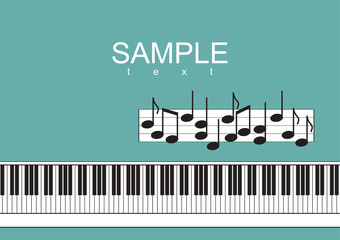 Piano keyboard and notes on green background Vector illustration
