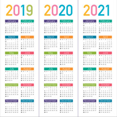 Year 2019 2020 2021 calendar vector design template