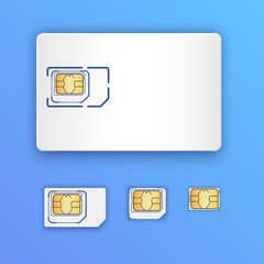 Blank realistic SIM card. Set of SIM cards. Full size, mini, micro and nano cards. Mobile phone chip