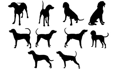 Coonhound Dog svg files cricut,  silhouette clip art, Vector illustration eps, Black  overlay