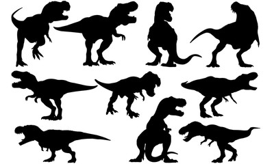 Tyrannosaurus Dinosaur svg files cricut,  silhouette clip art, Vector illustration eps, Black TRex  overlay
