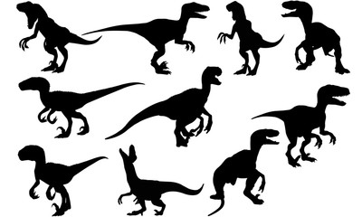 Velociraptor Dinosaur svg files cricut,  silhouette clip art, Vector illustration eps, Black  overlay