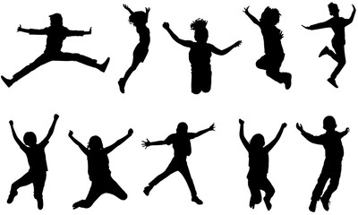Kids Jumping Silhouette, Kids Jumping Clipart, SVG, cut file, cricut, vector svg dxf eps png ai