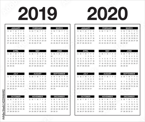 Calendario 2020 Vector Gratis.Year 2019 2020 Calendar Vector Design Template Stock Image