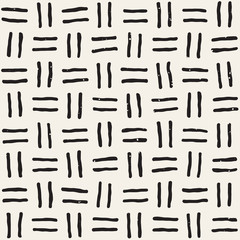 Hand drawn seamless pattern. Abstract geometric shapes background in black and white. Vector ethnic grungy texture.