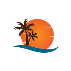 Palm tree on a beach logo design template