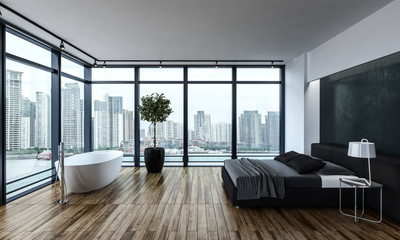 Modern bedroom with bathtub and large bed