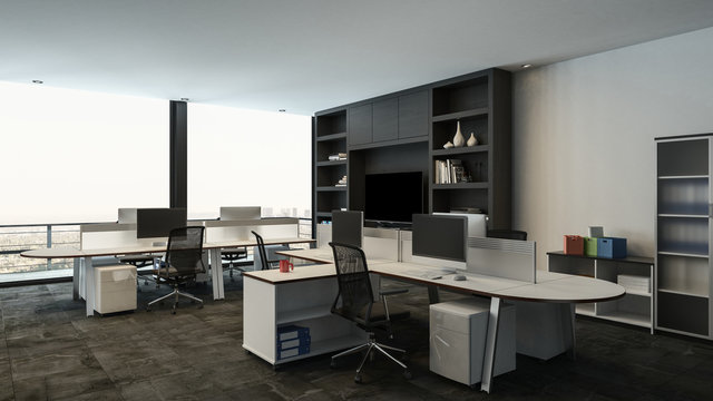 Interior of a office with multiple workstations