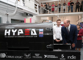 Britain's Prince William visits the 'Horse to Hyperloop' exhibition during a visit to Ryder Architecture Cooper's Studios, one of the centres that are hosting part of the Great Exhibition of the North, in Gateshead