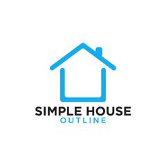 Simple line art blue house logo design template