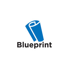 Blueprint paper logo icon element template vector