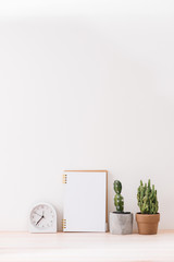 Empty notebooks on a white background with a cactus,  a white alarm clock