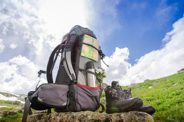 Backpack with hiking equipment