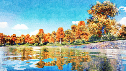 Watercolor painted autumn landscape with scenic colorful autumnal trees on the shore of forest lake or pond at daytime. Digital art painting from my own 3D rendering file.