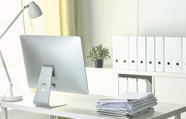 Workspace desktop, documents on the office table