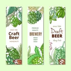 Beer hop vertical banner hand drawn set