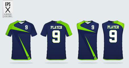 Blue and green T-shirt sport design template for soccer jersey, football kit and tank top for basketball jersey. Sport uniform in front and back view. Sport shirt mock up for sport club. Vector.