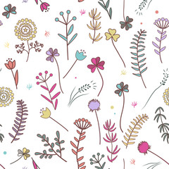 Wall Mural - Autumn flowers seamless pattern. Floral background. Raster illustration