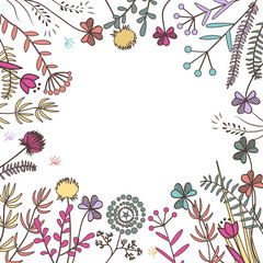 Wall Mural - Square frame with meadow herbs. Raster illustration