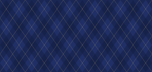 Argyle vector pattern. Navy blue with thin golden dotted line. Seamless dark geometric background for fabric, textile, men's clothing, wrapping paper. Backdrop for Little Gentleman party invite card