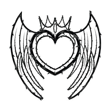 Heart crown shape of thorns vector