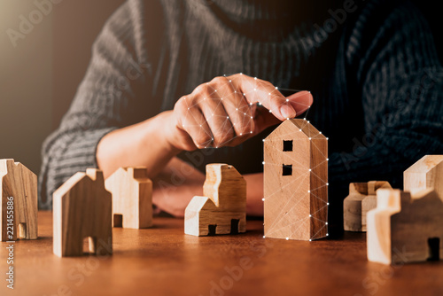 House Design Decision Ideas Concept With Man Hand Pick House