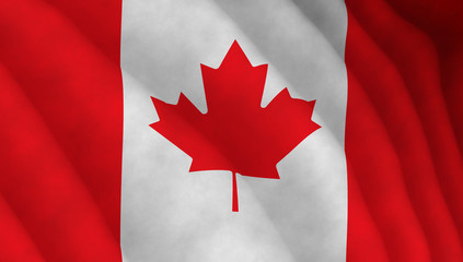 Illustration of a flying Canadian flag