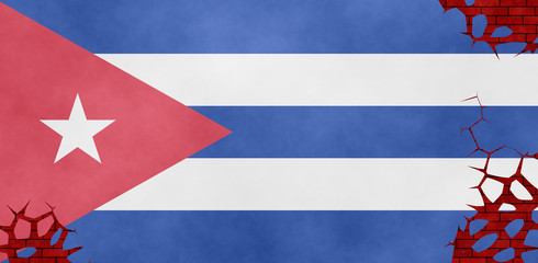 Illustration of Cuban flag, imitation of a painting on the cracked wall
