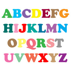 Colorful alphabet pattern on white background