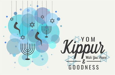 Yom Kippur greeting card or background. vector illustration.