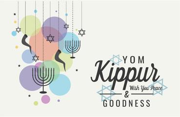 Yom Kippur greeting card or background. vector illustration.