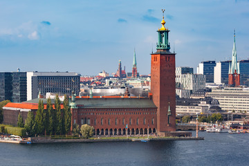 Scenic summer aerial view of Stockholm City Hall, seen from Sodermalm, in the Old Town in Stockholm, capital of Sweden