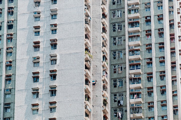 Residential buildings in Hong Kong. Hong Kong is one of the most densely populated places in the world.