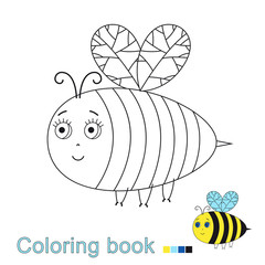 illustration of cute flying bee for coloring book for children