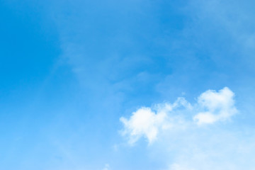 Blue sky with soft white cloudy atmosphere is clear and clean.