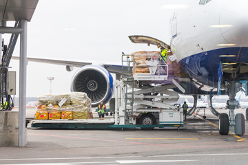 Loading cargo into the aircraft before departure Wall mural