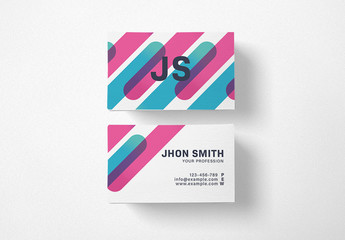 Business Card Layout with Geometric Shapes