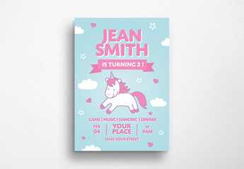 Unicorn Birthday Flyer Layout