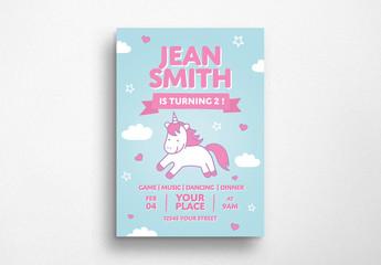 Unicorn Birthday Flyer Layout