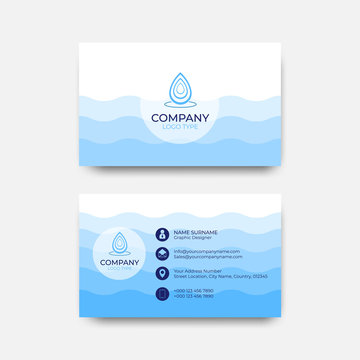 Business card design blue wave concept vector  abstract background.