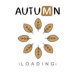 Autumn loading. Autumn begins creative concept. Progress bar design. Vector illustration.