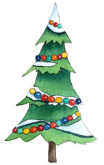 Christmas Tree With Snow. Hand drawn watercolor illustration.
