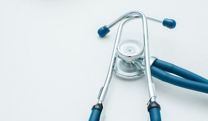 Stethoscope in blue Isolated on white. Detailed image of medical instrument.