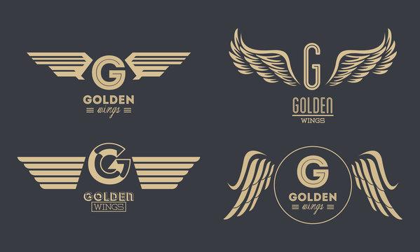 Set of golden wings emblems