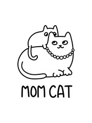 A Cartoon Vector Illustration Of A Feline Family, With A Mother Cat And A Kitten