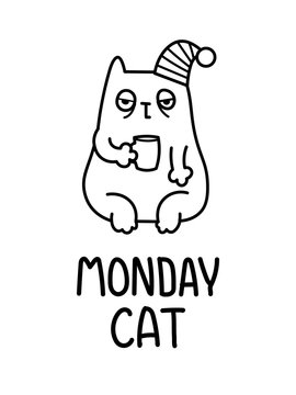 A Cartoon Vector Illustration Of The Exhausted Tired Sleepy Monday Morning Cat With A Cup Of Coffee In A Hat