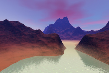 Beautiful lake, a volcanic landscape, rocks and mountains, fog on the waters and pink clouds in the sky.
